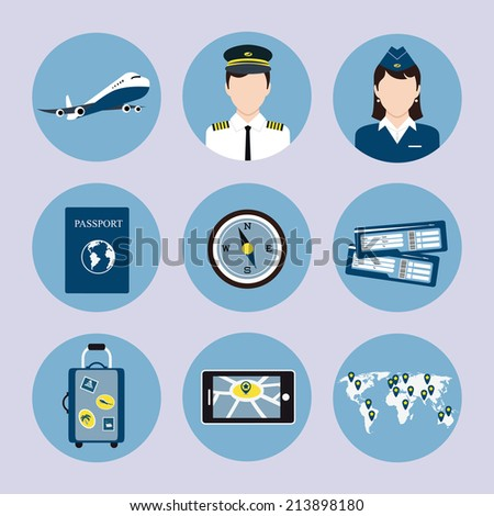 Airlines travel concept icons set with pilot stewardess passport luggage trolley tickets  isolated illustration - stock photo