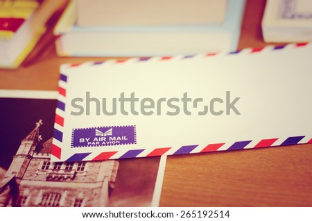 Airmail blank business on the table old vintage style background  - stock photo