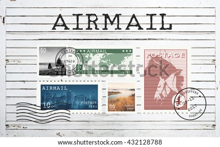 Airmail Mail Postcard Letter Stamp Concept - stock photo