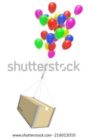 Airmail package delivery by balloon courier service shipping - stock photo