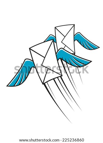 Airmail postage icon with two winged envelopes flying through the air at speed with motion trails, cartoon sketch