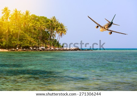 Airplane above tropical island with palm trees and blue clean water