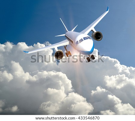 airplane above white clouds and blue sky, sun beams, 3d rendering