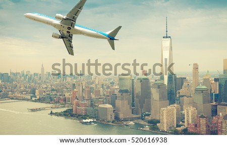 Airplane after take off with New York skyline. Travel concept: