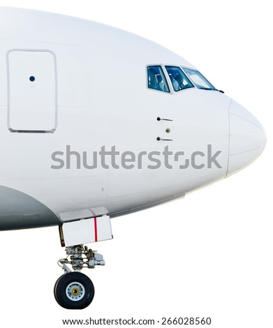 Airplane airport profile landing gear cab pilots fly nose - stock photo