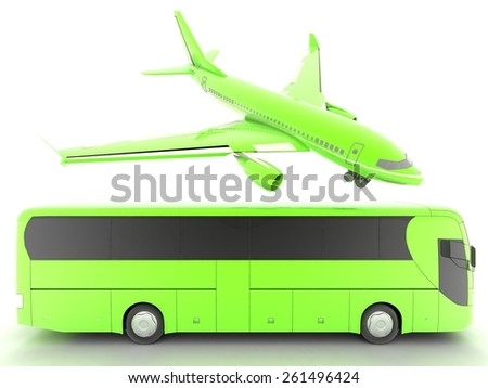 Airplane and bus - stock photo