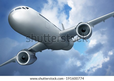 Airplane and cloudy sky - stock photo