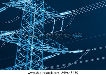 airplane and power line, x-ray effect - stock photo