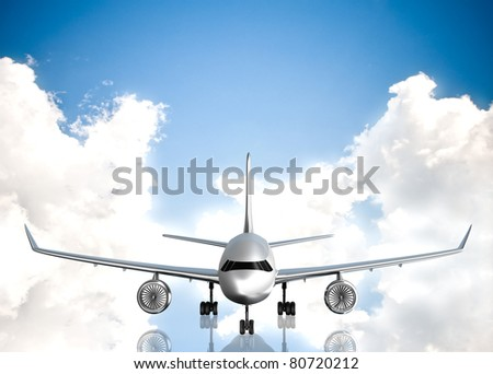 Airplane and sky on background