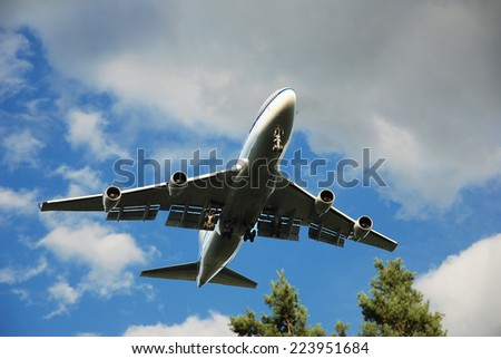 Airplane arrival - stock photo