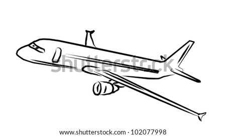 Airplane Art on white - stock photo