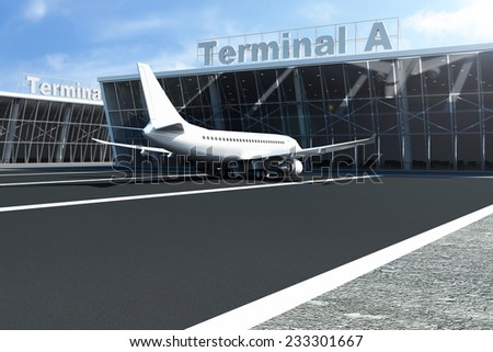 Airplane at the Airport Waits near the Terminal. Passenger Airliner of My Own Design