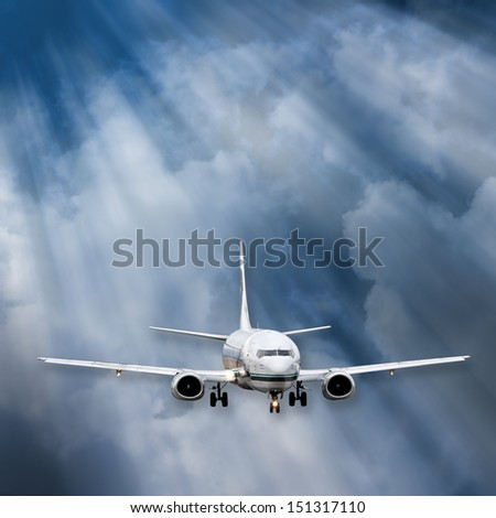 Airplane Background of plane i flight amidst the clouds and rays