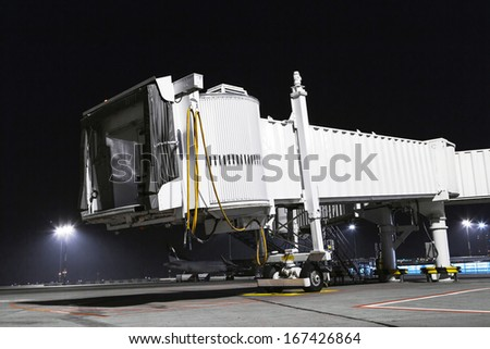 Airplane boarding close up - stock photo
