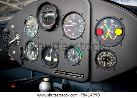 Airplane cockpit - stock photo
