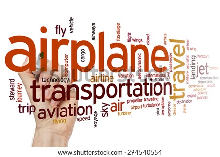 Airplane concept word cloud background - stock photo