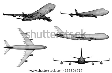 airplane. 3D model of jet airplane isolated on  white background