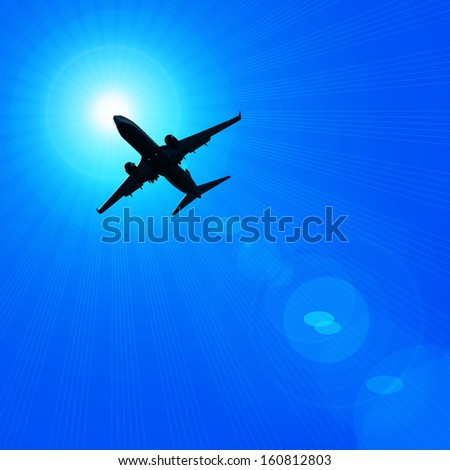 airplane,dark silhouette sun,sky, rays background