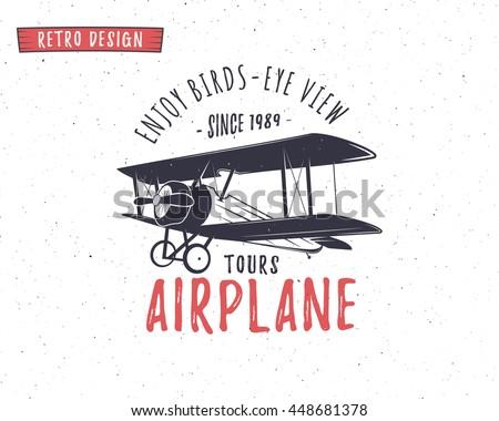 Airplane emblem. Biplane label. Retro Plane badges, design elements. Vintage prints for t shirt. Aviation stamp. Air tour logo. Travel logotype. Isolated on white textured background. . - stock photo
