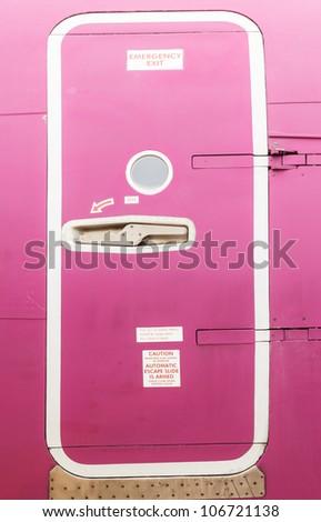 Airplane emergency exit - stock photo
