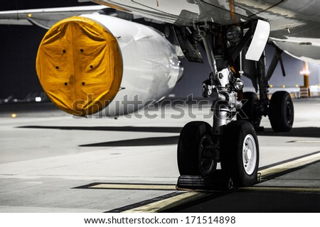 Airplane engine close up