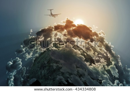 airplane flies above clouds,  3d illustration