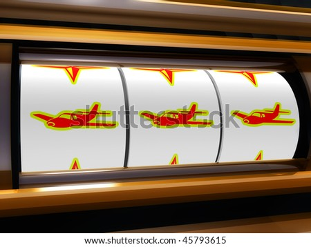 Airplane flight jackpot slot machine illustration - stock photo