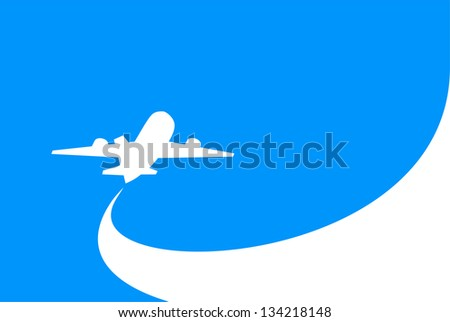 airplane flight tickets air fly cloud sky blue travel blank (Raster copy of vector) - stock photo