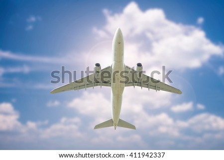 Airplane flying above at day time