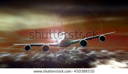 Airplane flying during sunset with motion blur - stock photo