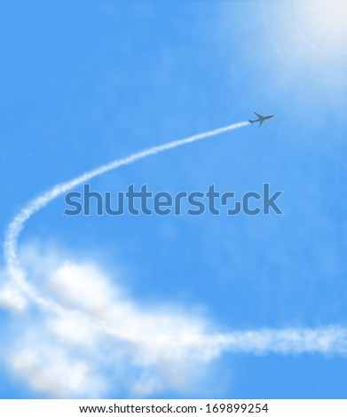 airplane flying in white clouds on blue sky - stock photo