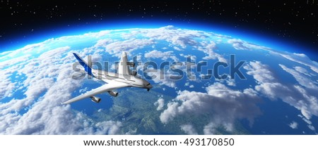 Airplane flying over a planet in space . This is a 3d render illustration