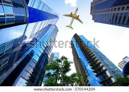 Airplane flying over Atlanta, Georgia, USA - stock photo