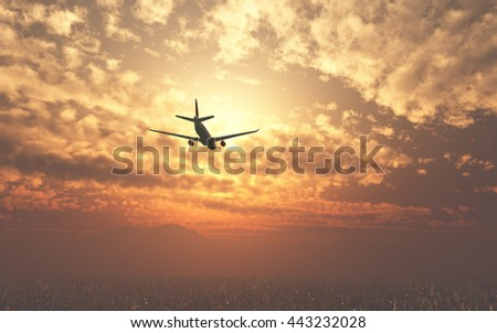 Airplane flying over the city and the beach sunrise 3d rendering lens flare affect
