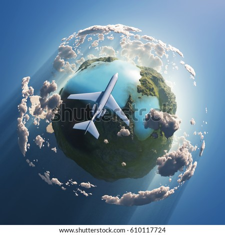 Airplane flying over the Earth, 3d illustration