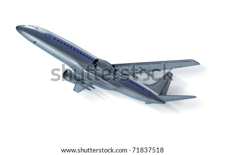 Airplane flying with motion streak isolated on white.
