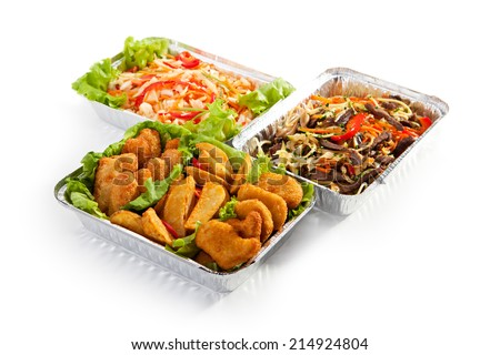 Airplane Food - Fried Food, Noodles and Vegetable Salad - stock photo