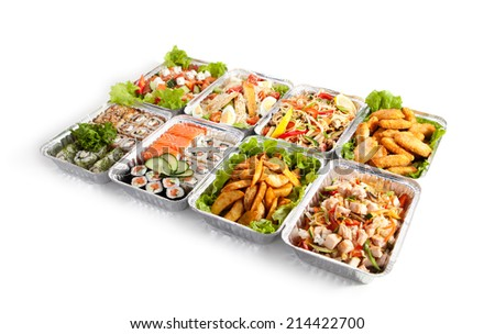 Airplane Food - Various Sushi Box, Salads and Pasta - stock photo
