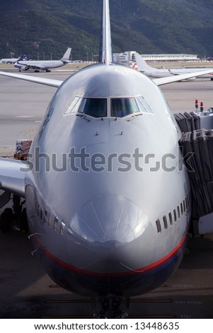 airplane getting ready to leave - stock photo