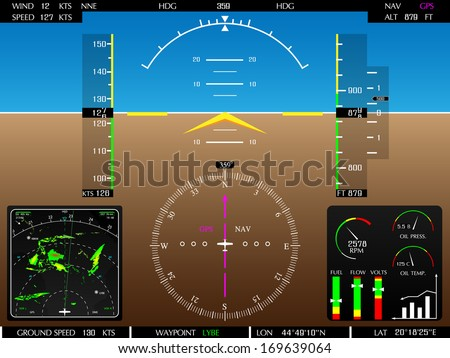 Airplane glass cockpit display with weather radar and engine gauges, raster copy