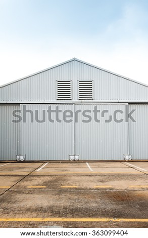 Airplane hangar.