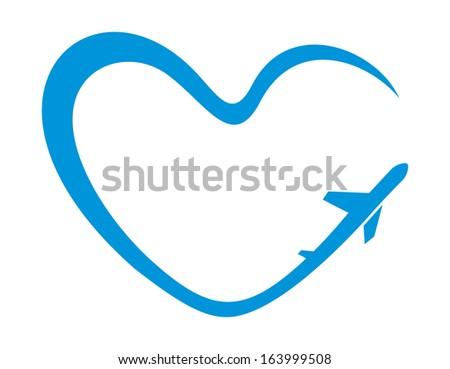 airplane heart symbol - stock photo