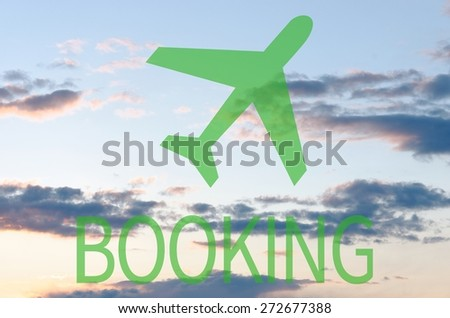 Airplane icon & inscription Booking - stock photo