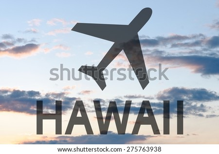 Airplane icon & inscription Hawaii - stock photo