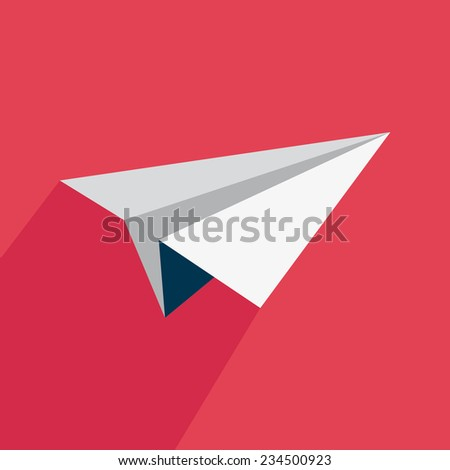 Airplane icon with shadow on a red background