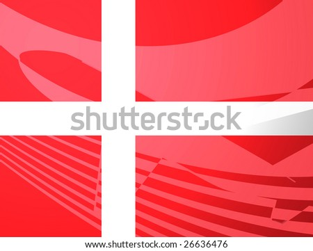Airplane image superimposed over Flag of Denmark, national country symbol illustration indicating commercial air travel