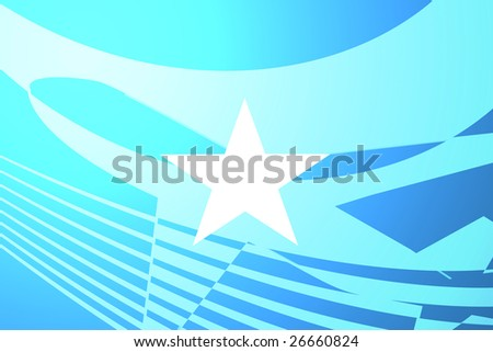 Airplane image superimposed over Flag of Somalia, national country symbol illustration indicating commercial air travel