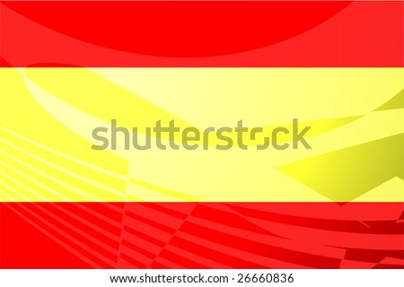Airplane image superimposed over Flag of Spain, national country symbol illustration indicating commercial air travel