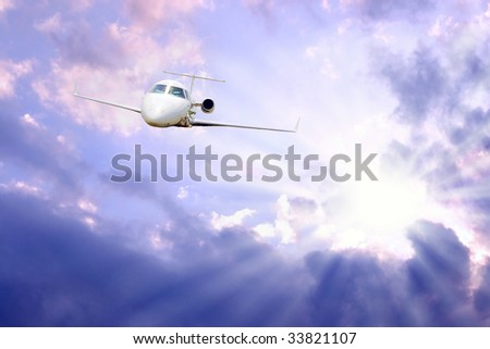 airplane in air on blue sky - stock photo