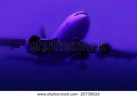 airplane in fog - stock photo